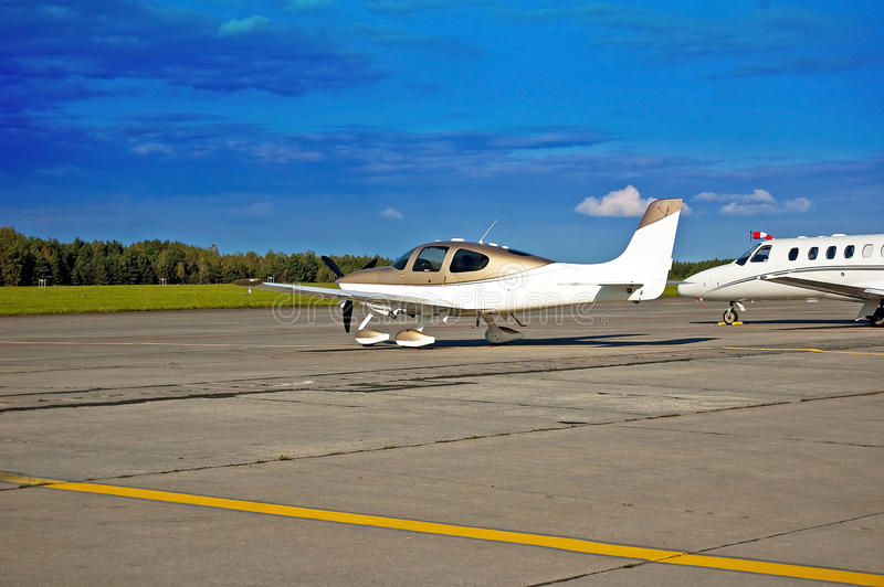 Single engine aircraft. Small aircraft, an airplane waiting for passengers stock photography