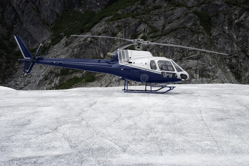 Single-engine helicopter landed stock photography