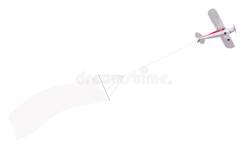 Single engine plane with banner royalty free stock photo