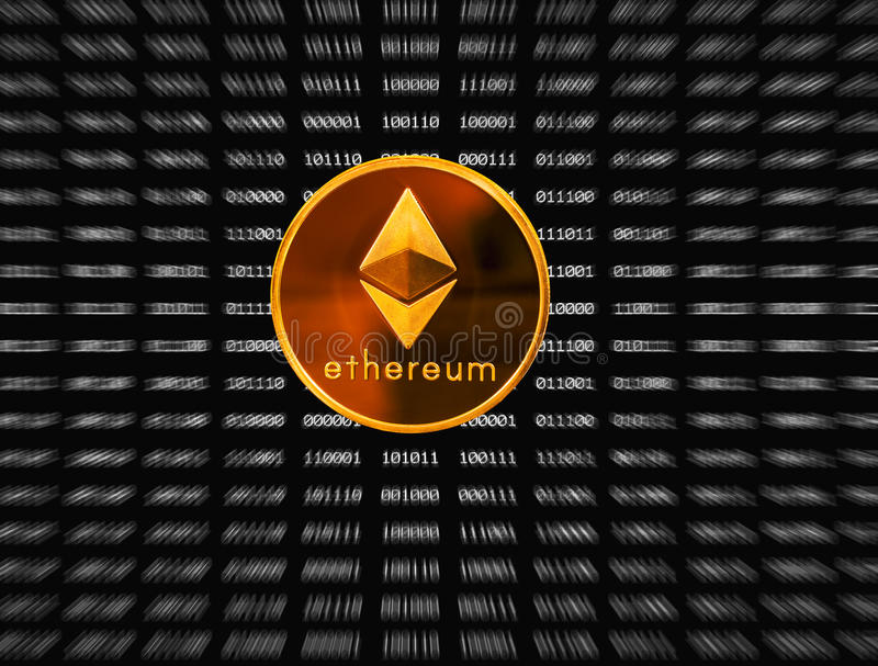 ether black singles Hand holding a single ether or ethereum coin over bitcoins on gold background to illustrate blockchain and cyber currency  red on a black isolated background.