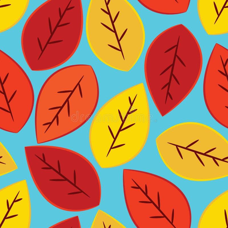 Single fall leaves seamless pattern on blue backgr. Single yellow, orange, and red fall leaves seamless pattern on blue background vector illustration
