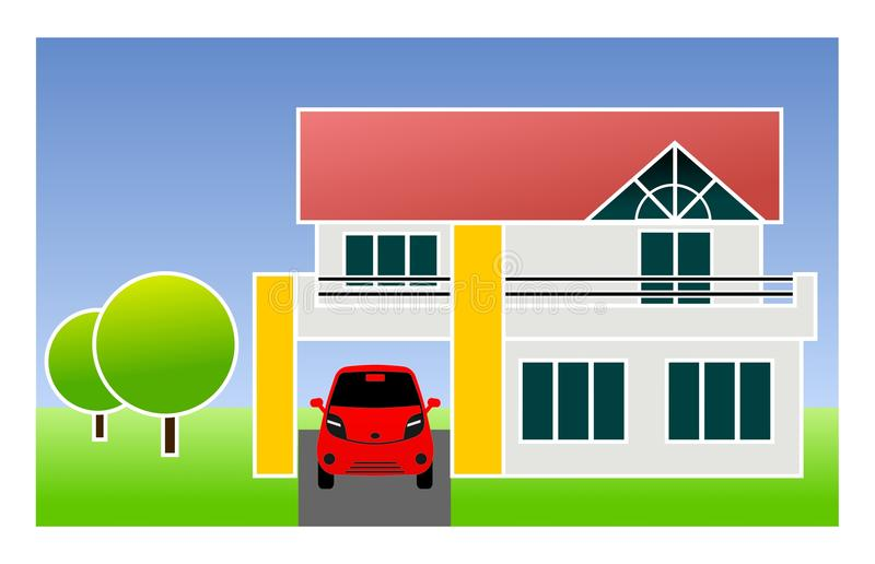 Single family home with car. Illustration of single family home with car stock illustration