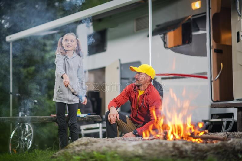 Single Father Camping Time royalty free stock images