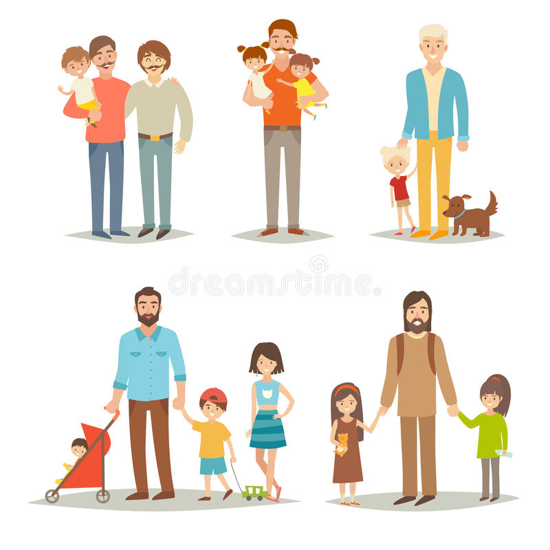 Single father with children. Happy family young group: little sisters, brothers and father. Cartoon character people.Gay family and adopted child. Flat vector vector illustration