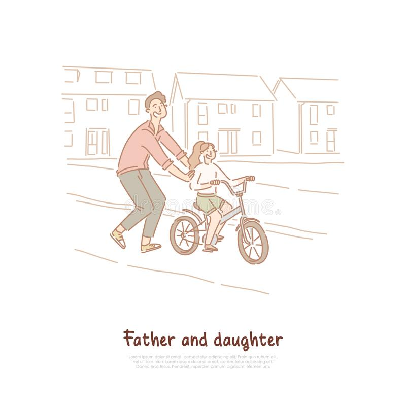Single father, dad teaching daughter ride bike, family activity, young man and little child, happy parenting banner. Cycling lesson, fatherhood concept cartoon vector illustration