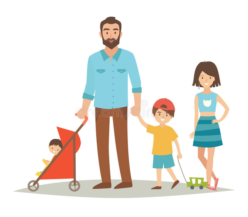 Single father with three young children. Happy family young group: sister, brother, baby in stroller and father. Cartoon character people. Flat style vector stock illustration