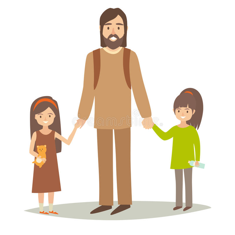 Single father with two young daughter. Happy hipster family young group: little sisters and father. Cartoon character people. Flat style vector illustration on stock illustration