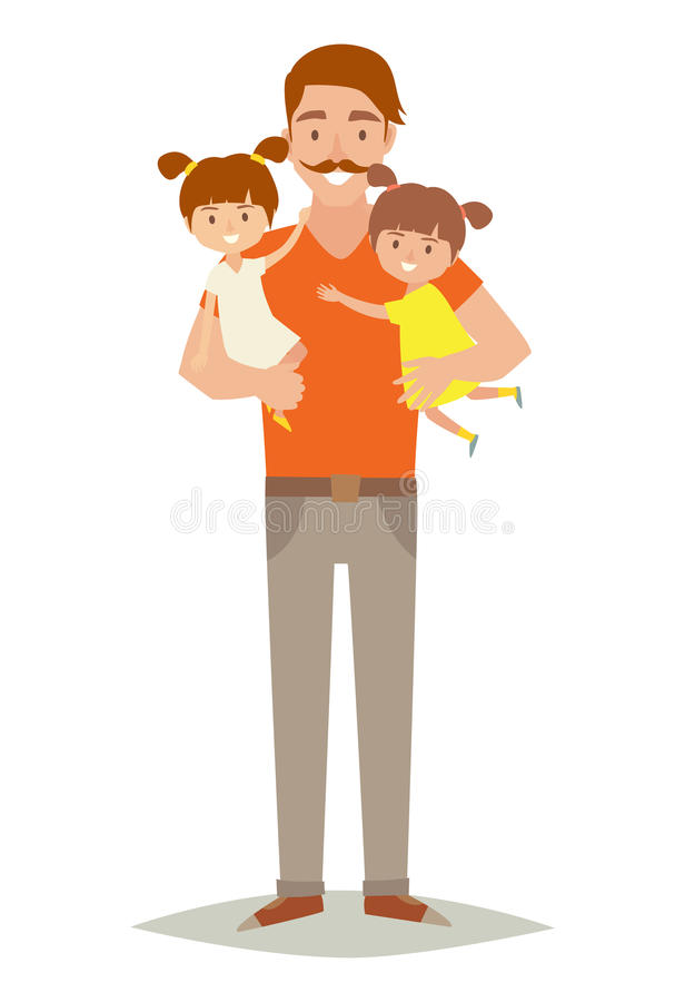 Single father with two young daughters. Happy family young group: little baby, sisters and father. Father holding baby in arms. Cartoon character twins.Flat stock illustration