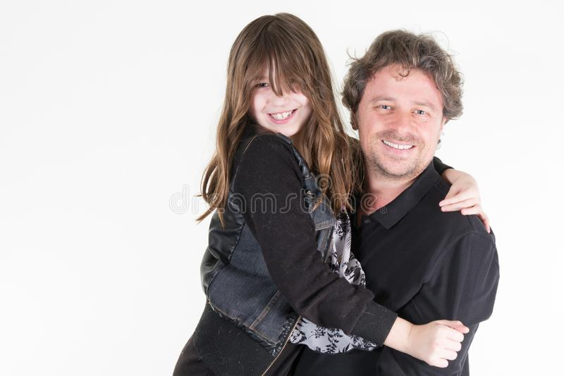 Single father with young daughter in arms like family divorce concept stock photography