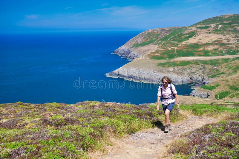 A single female walker on the Wales Coast Path on a sunny summer day with a blue sea and sky.  stock photo