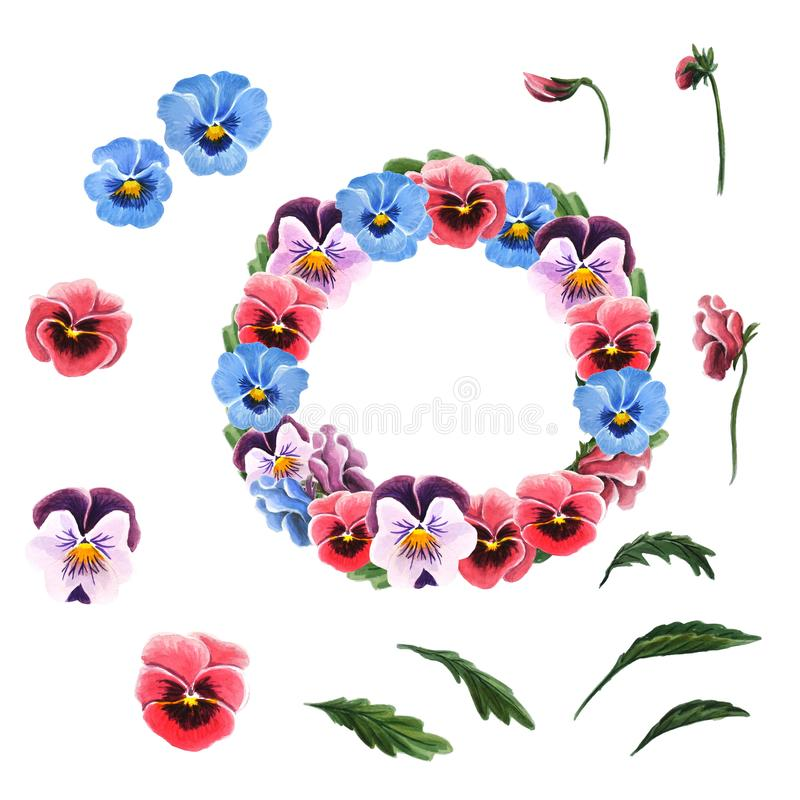Single flowers, leaves, garland of colorful pansies isolated on a white background. stock illustration