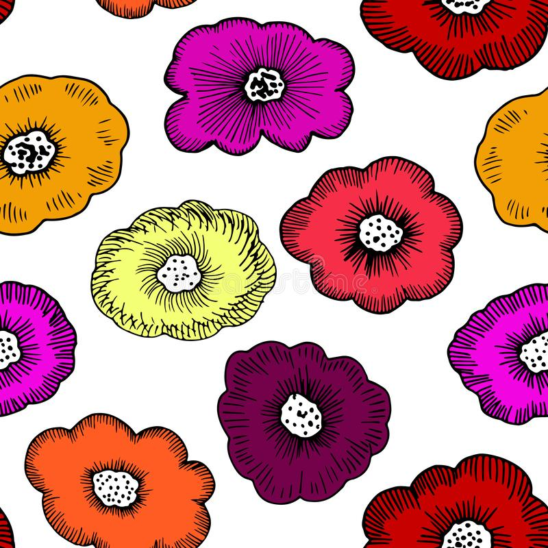 Single Funky Florals. vector illustration
