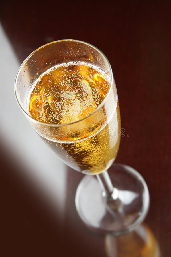 Single glass of champagne royalty free stock photos