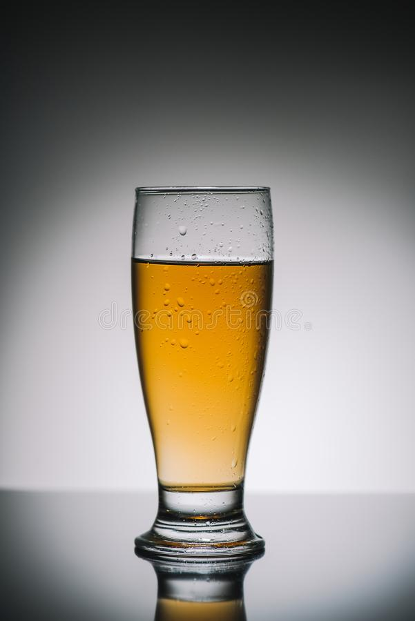 Single glass with light fresh beer on gray. Reflecting table stock photography