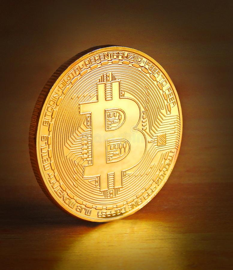 Single gold cryptocurrency bitcoin coin currency digital stock photography
