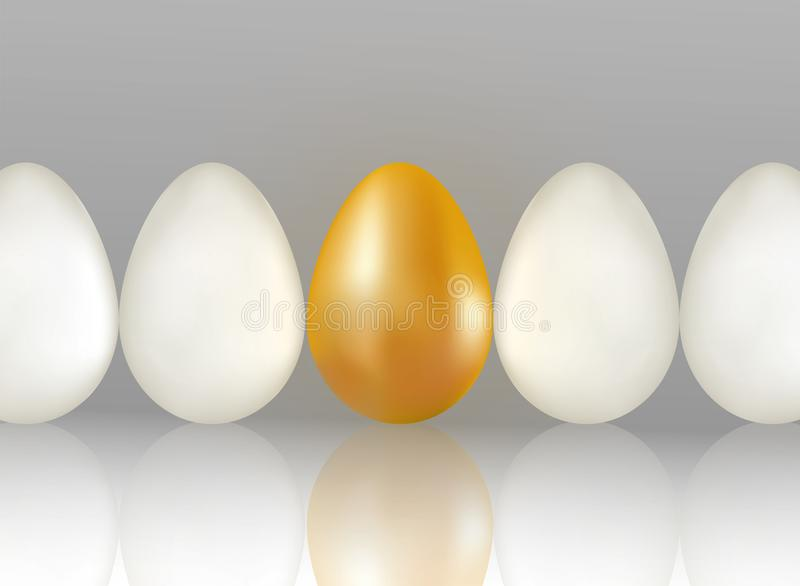 Single golden egg shines among ordinary white eggs. The concept of uniqueness. One row of eggs background with reflection. Realist stock illustration