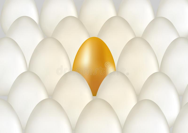 Single golden egg shines among ordinary white eggs. The concept of uniqueness. Rows with many eggs background. Vector 3d illuctrat. Ion stock image