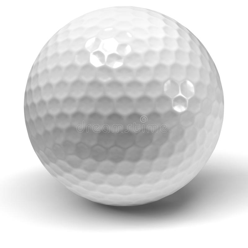 Single golf ball on a white background stock photography