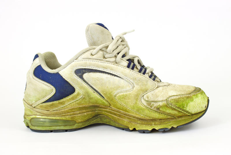 Download Single Grass Stained Old Sneaker Stock Image - Image: 14535733