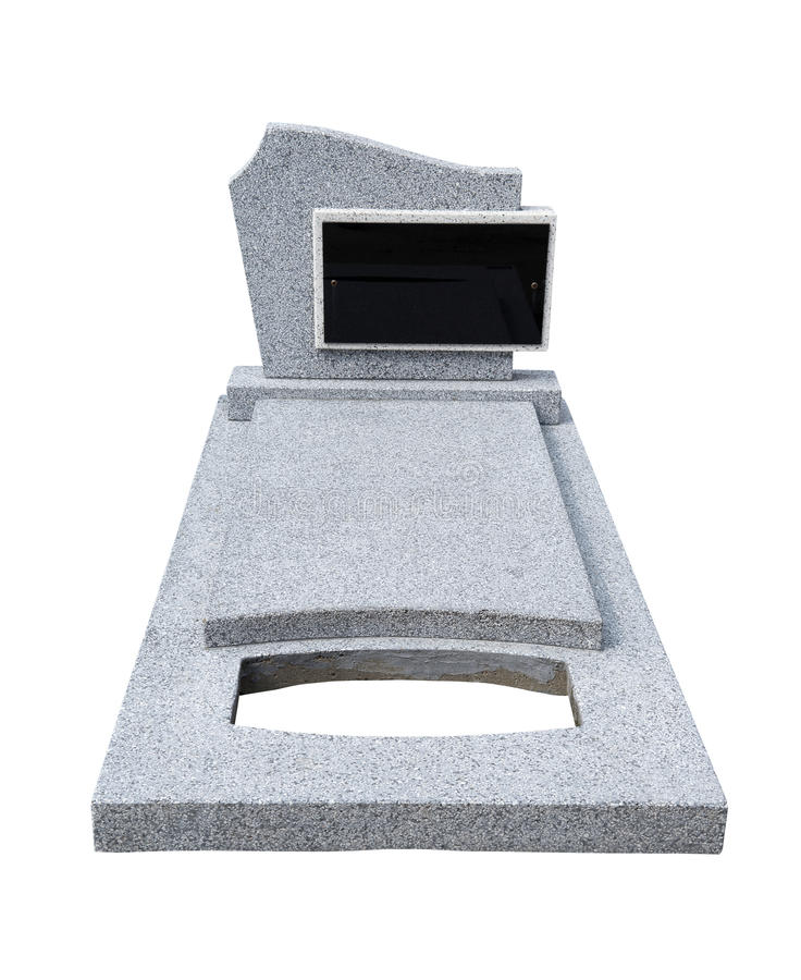 Single grave stone (Clipping path) royalty free stock photography