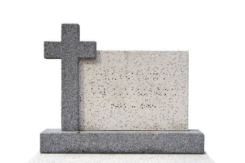 Single grave stone (Clipping path) royalty free stock photos