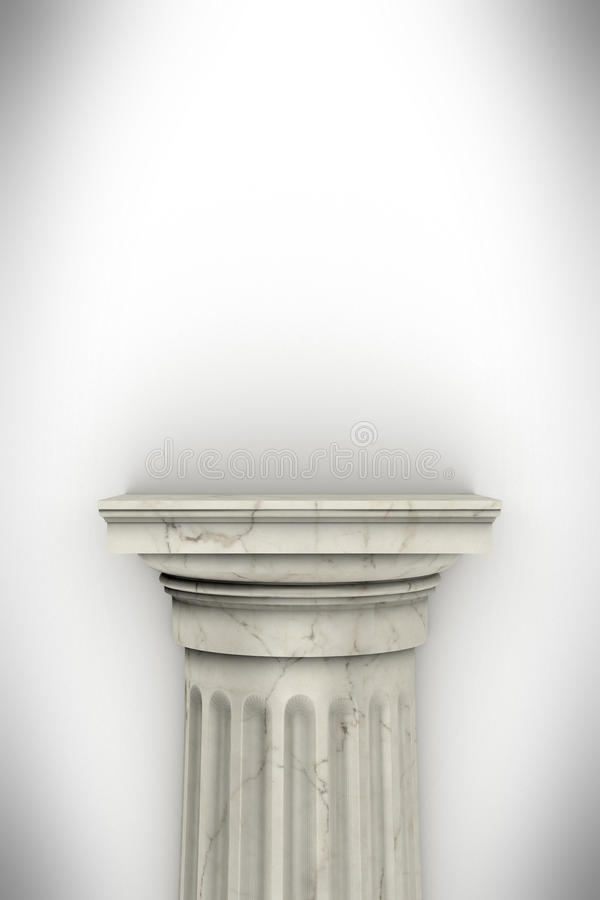 Single greek column isolated on white vector illustration