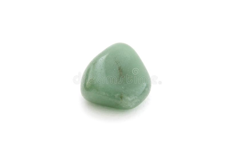 Green agate mineral on the white background royalty free stock photography