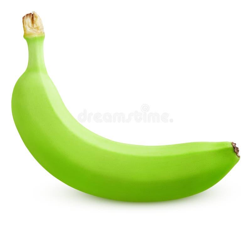 Single green banana isolated on white royalty free stock photo