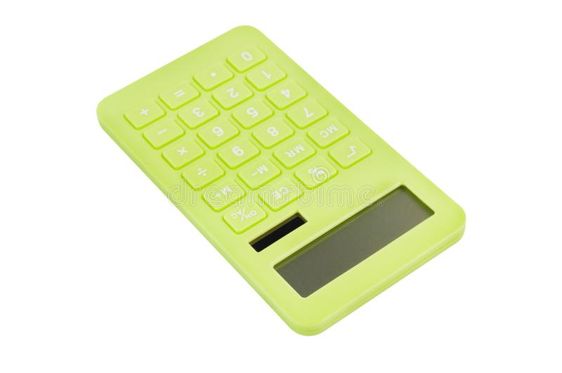 Single green plastic calculator for accounting with solar cells for autonomous work from sunshine isolated on white background. Object, business, office royalty free stock images