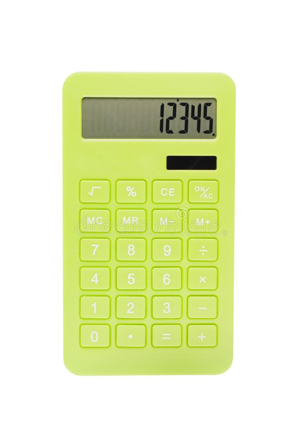 Single green plastic calculator for accounting with solar cells for autonomous work from sunshine isolated on white background. Top view royalty free stock photos