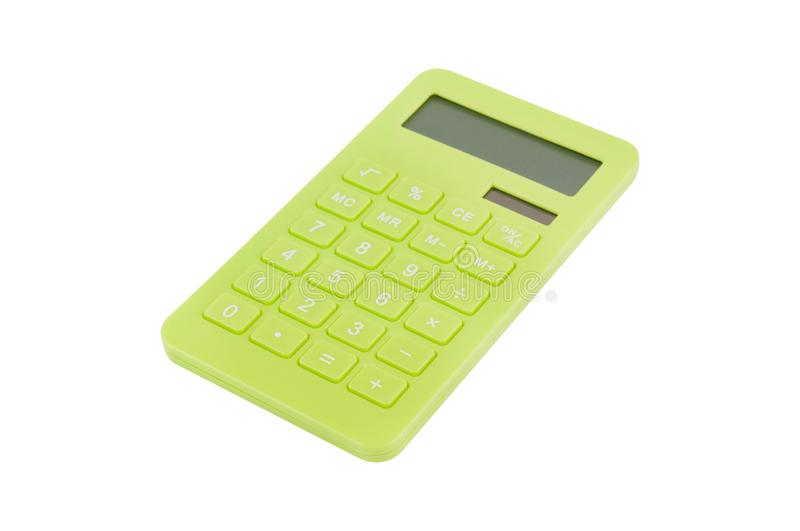 Single green plastic calculator for accounting with solar cells for autonomous work from sunshine isolated on white. Background stock images
