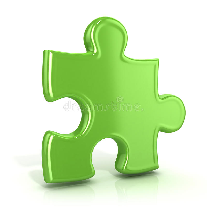 Single, green, standing jigsaw puzzle piece. Usual angle. Single, green, standing jigsaw puzzle piece. 3D render icon isolated on white background. Usual angle royalty free illustration
