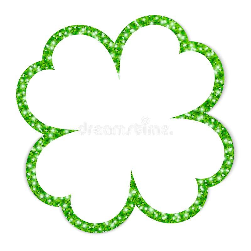 Single Green Turned Graphic Shamrock Frame Glitter royalty free illustration