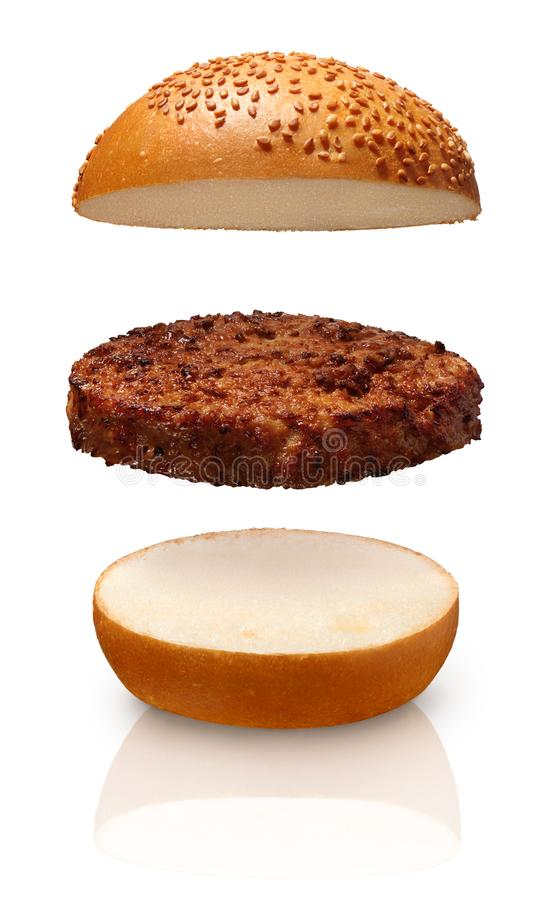 Free Single Grilled Hamburger Between Top And Bottom Of Fresh Bun Stock Images - 111348204