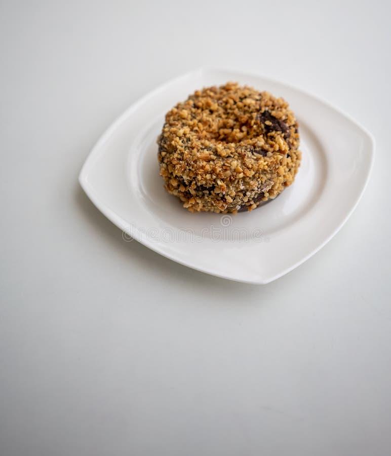 Single ground peanut coated on chocolate flour donut on white pl stock image