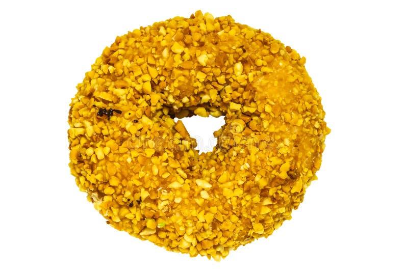 Single ground peanut coated on donut stock photography