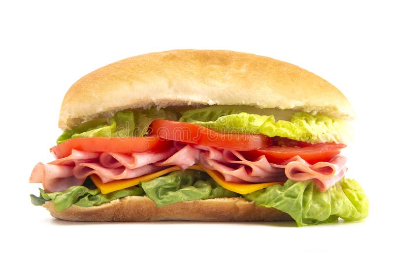 Ham Sandwich with Lettuce Cheese and Tomatoes on a White Bun stock photo