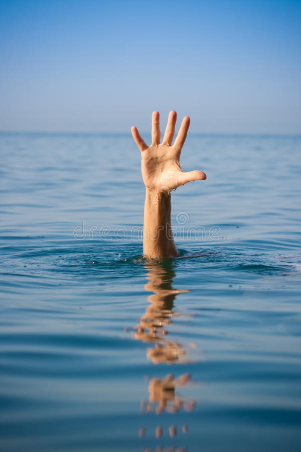 Free Single Hand Of Drowning Man In Sea Asking For Help Royalty Free Stock Image - 16134346