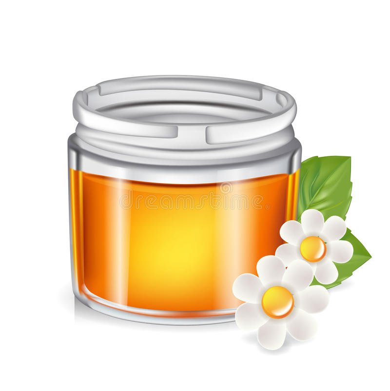Single honey jar isolated on white royalty free illustration