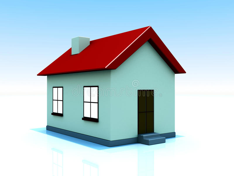 Single House with Lights on. 3D rendered image of a house with lights turned on stock illustration