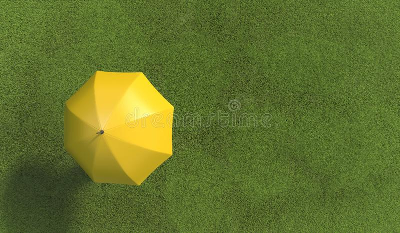 Single human under yellow umbrella on the green lawn covered with grass. Top view. Illustration with copy space. 3D rendering.  stock illustration