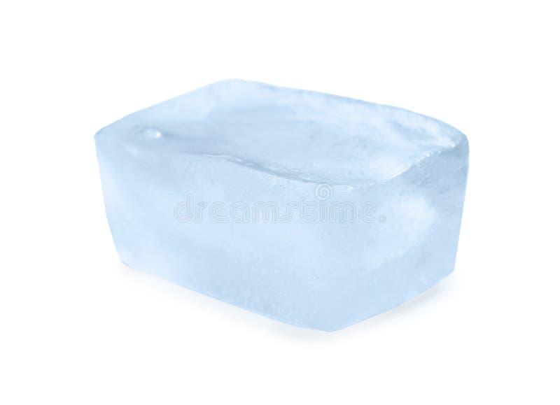 Single ice cube on white background. stock photography