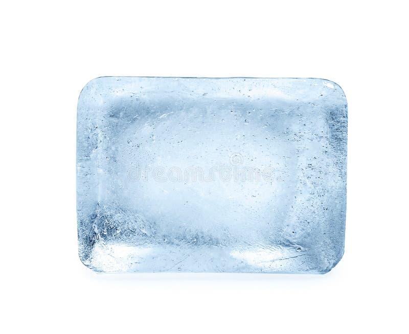 Single ice cube on white background. royalty free stock image