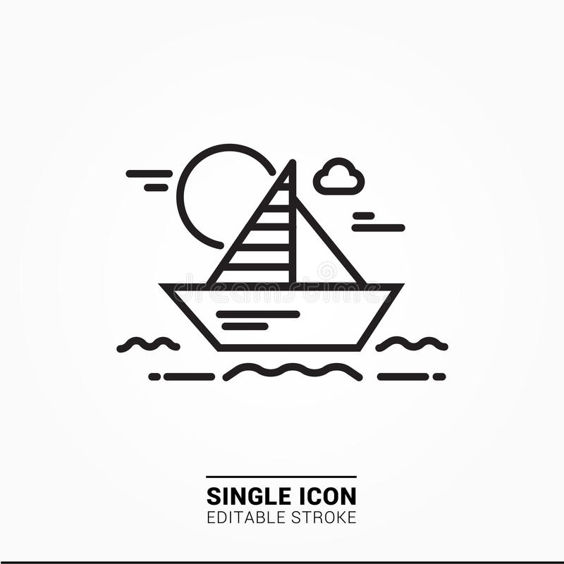Single Icon boat in the sea sunset. Single icon can use for any purpose stock illustration