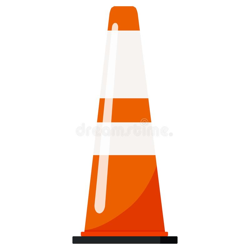 Single image of orange color plastic road traffic cone with reflective stripes stickers. vector illustration