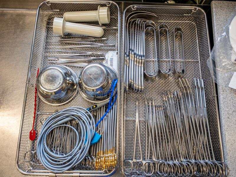 Single instrument tray contains various surgical instruments. A single instrument tray contains various surgical instruments royalty free stock photo
