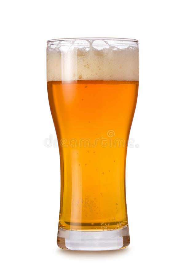 Single IPA beer glass with foam and bubbles isolated on white background stock image