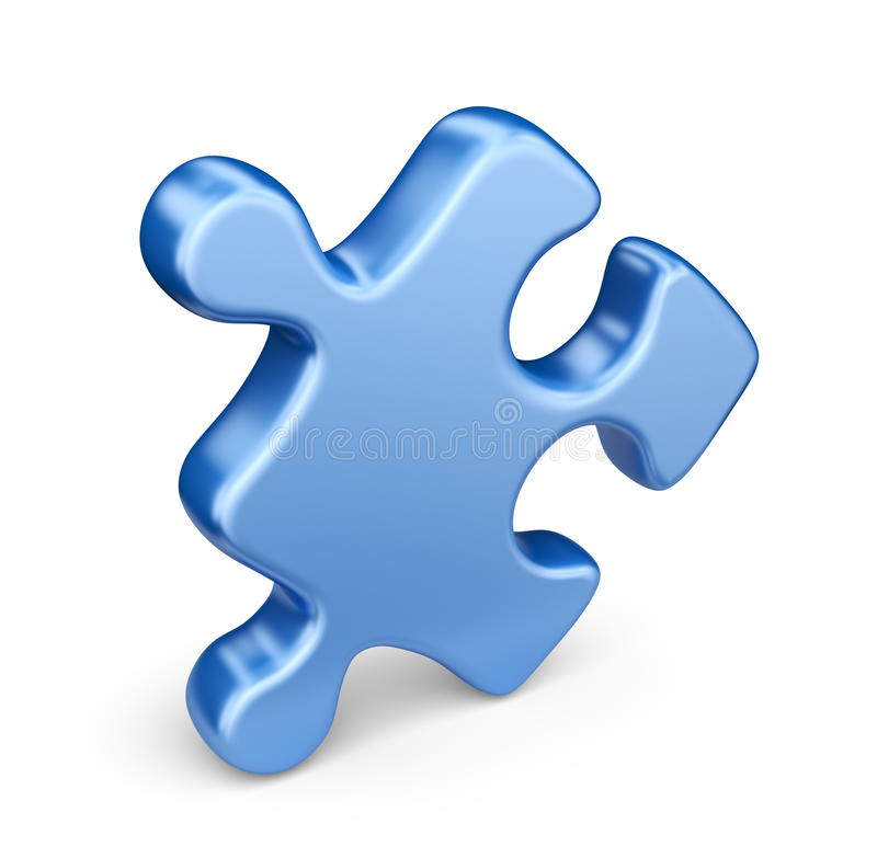 Single jigsaw puzzle piece. 3D Icon isolated stock illustration