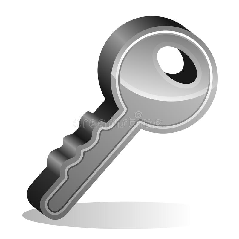 Download Single key stock vector. Image of silver, shiny, real - 27413436