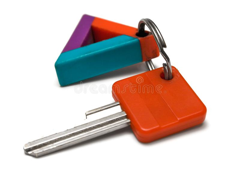 Single Key w/ Colorful Tag royalty free stock photos